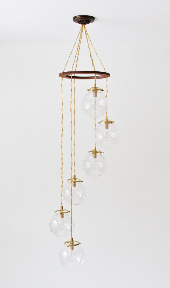 Six Light Chandelier with Bell Shaped Glass Shades at Destination Lighting