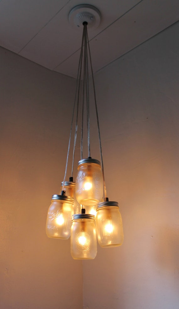 Fog mason jar chandelier with frosted ball mason jars etsy image 0 aloadofball Image collections
