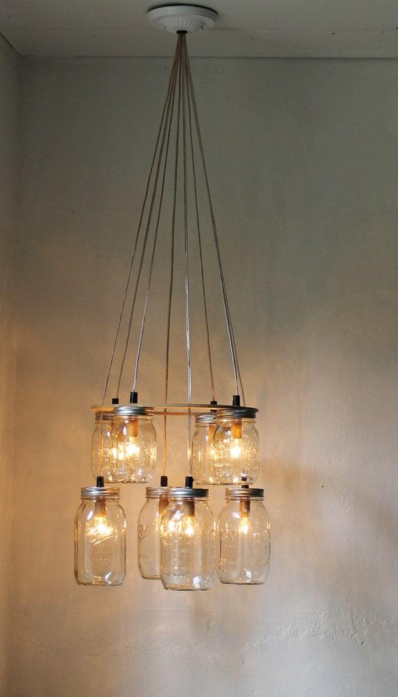 Double decker mason jar chandelier upcycled hanging mason etsy image 0 aloadofball Choice Image