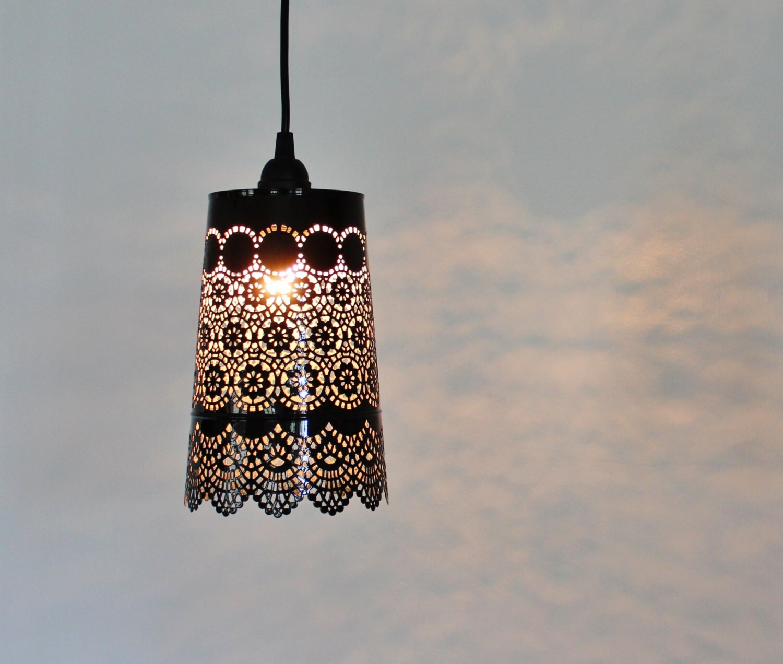 BLACK Lace Pendant Lamp UpCycled Hanging Mesh Metal Garden   Etsy