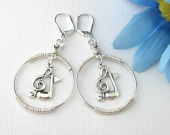 Silver Treble Clef 8th Note Wire Wrapped Hoop Lever Back Earrings, Music Stocking Stuffer, Music Gift