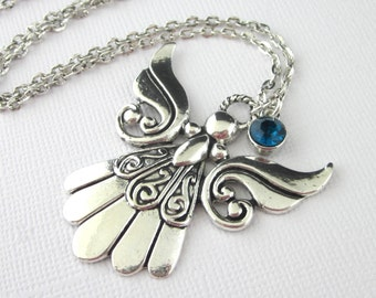 """Angel Pendant Necklace, Antiqued Silver, 20"""" Long Chain, Personalized With Birthstone Pendant Drop Charm, Angelic Jewelry"""