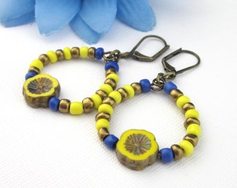 Yellow Czech Flower Hoop Earrings With Seed Beads, 2 Inches Long, Blue Bronze Yellow, Lever Backs, Spring Summer Jewelry