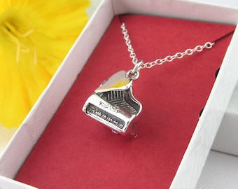 Sterling Silver Grand Piano Charm With Chain Necklace, 3D Dimensional, Moveable Lid With Keyboard, Musical Instrument Jewelry