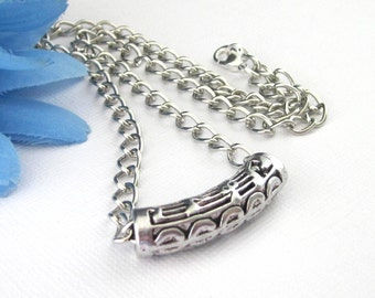 """Silver Cut Out Music Curved Tube Shaped Bead Choker Necklace, 16"""", 17"""" 18"""" Adjusts Smaller, Slider Bead Chokers, Unique Music Jewelry Gifts"""