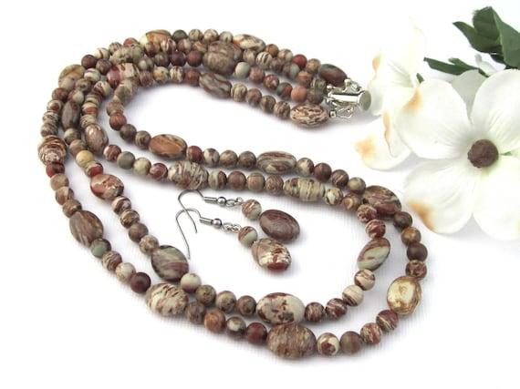 Long Brown Jasper Chip Necklace,brown jasper gemstone necklace,heart pendant necklace,brown jasper pendant necklace,long chip bead necklace