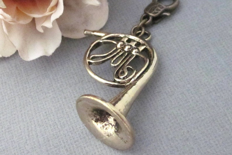 Music Accessories Antiqued Gold French Horn Clip On Pendant Unique Clip On Zipper Pull Large French Horn Zipper Pull Charm