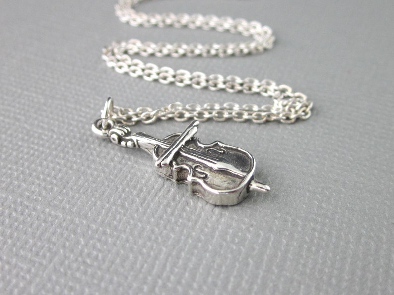 Bass Fiddle Necklace Cello Charm And Chain Cello Pendant Graduation Gift For Her Sterling Silver Cello Necklace Music Charm Jewelry