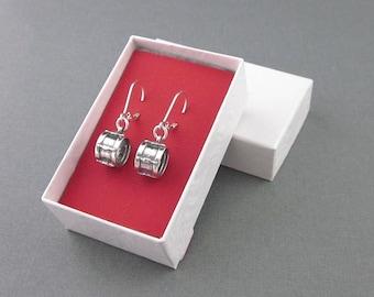 Sterling Silver Drum Earrings, Drummer's Earrings, Lever Back Pair Or One Single Pierced Earring For Men, Percussion Gift
