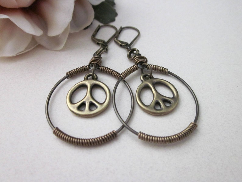 Peace Sign Earrings, Antiqued Brass, Dangling Peace Sign Charm Earrings, Wire Wrapped Hoop Earrings, Hippie Boho, Peace Sign Jewelry