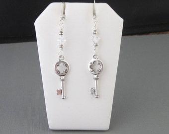 Long Length Key Earrings Medium-Large, Quatrefoil Four Lobe Design, Silver Pewter With Clear AB Crystals, Dressy Key Earrings