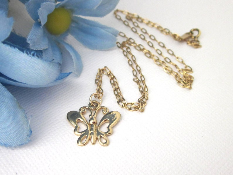 Gold Butterfly Necklace Gold Vermeil Butterfly Charm image 0