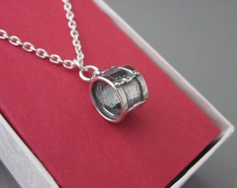 Sterling Silver Bass Drum Necklace, Drum Charm With Chain Necklace, Tom Drum Necklace, Drummer's necklace, Percussionist, Music Jewelry