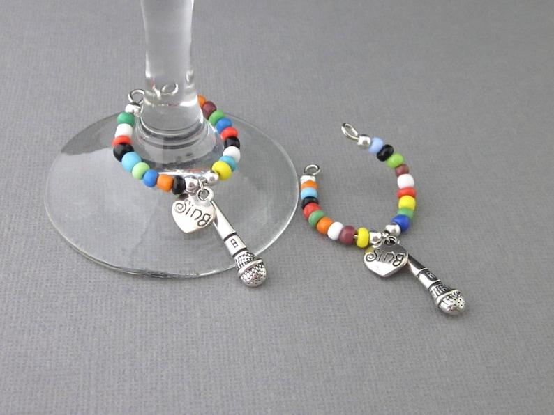 Microphone Wine Glass Charm Music Wine Glass Charm With image 0
