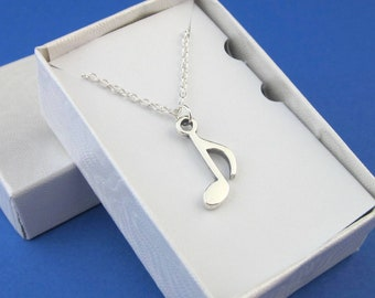Sterling Silver .925 Medium Size 8th Note Necklace, 8th Note Charm And Chain, Music Note Jewelry, Music Gifts