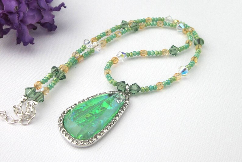 Green And Orange Crystal Beaded Pendant Necklace With image 0