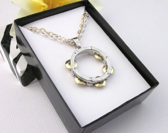 Tambourine Pendant Necklace Two Chains Both Silver And Gold, Music Percussionist Jewelry, Music Gifts