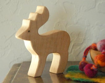 Carved Wooden DEER, Handmade Toy Animal, Waldorf Inspired