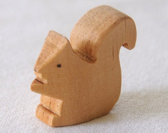 Carved Wooden SQUIRREL, Handmade Toy Animal, Waldorf-Inspired