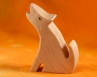 Carved Wooden COYOTE, Handmade Toy Animal, Waldorf Inspired