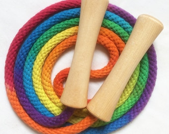Jump Rope Hand-dyed jumprope, rainbow colored with wooden handles