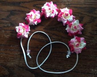 Pink and White flower Headband
