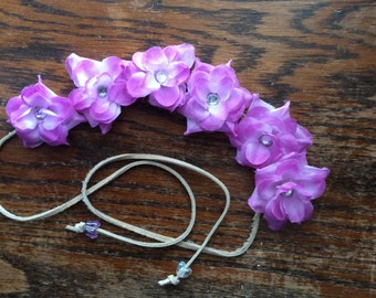 Pretty Purple Flower Headband with Rhinestones