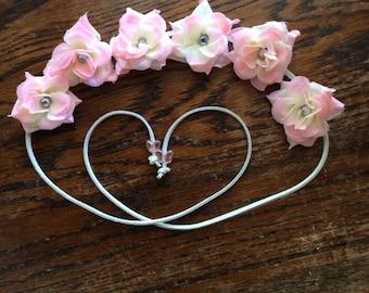 Pale Pink Silk Flower Headband with Rhinestone in the center of each flower - Flower Crown -Halo