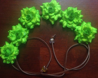 Green Silk Flower Power Headband Flower Crown