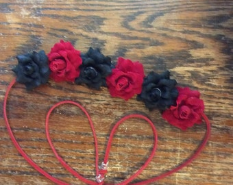 Black and Red Flower Headband