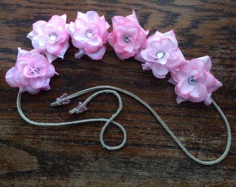 Pretty in Pink Flower Headband with Rhinestones