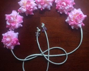 Pretty Pink silk Flower Power Headband - Flower Crown
