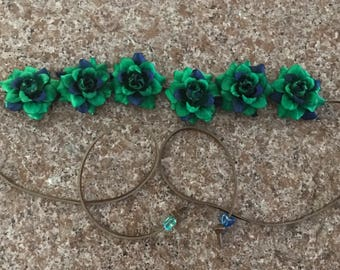 Blue and Green tie dyed looking Silk Flower Power Bohemian Headband  - Flower Crown - Halo - Hippie