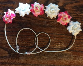 White and Pink and White Flower Headband