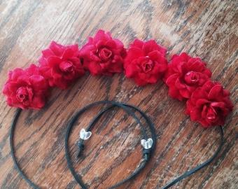 Red Silk Flower Power Bohemian Headband -Flower Crown - Halo