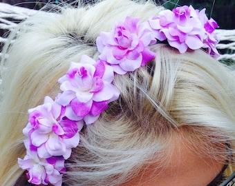 Purple and lavender silk Flower Crown Headband