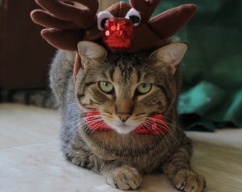 Cat-Dog Reindeer Costume/Rudolph the Red Nosed Reindeer hat for cats and dogs /Cat_Dog Reindeer Antlers/Dog_Cat Christmas Costume_Outfit