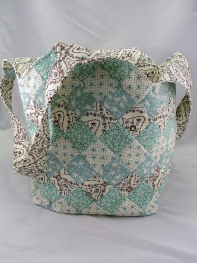 Large handmade patchwork quilted tote bag mondo Seafoam and brown