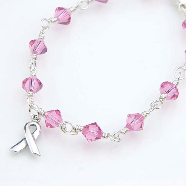 0b126b97c Pink Crystal Bracelet with Awareness Ribbon Charm. Breast   Etsy
