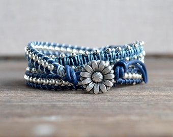 Tranquil Blue Quadruple Wrap Leather Bracelet