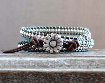 Teal Quadruple Wrap Leather Bracelet