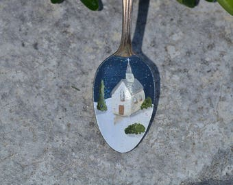 Painted Spoon/Spoon Ornament/Chapel Ornament/Winter Scene/Church