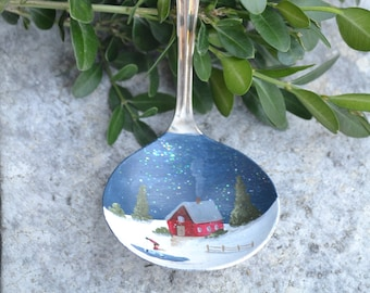 Gravy Ladle/Painted Gravy Ladle/Vintage Spoon/Spoon Ornament/Red Cottage/Ice Skater Ornament