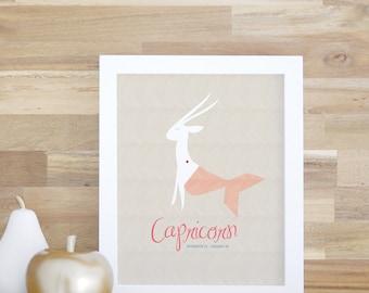 Capricorn Zodiac Sign Print for kids' Rooms and Baby Nurseries Art and Decor Capricorn Poster 8x10 16x20 White Frame. Capricorn Print