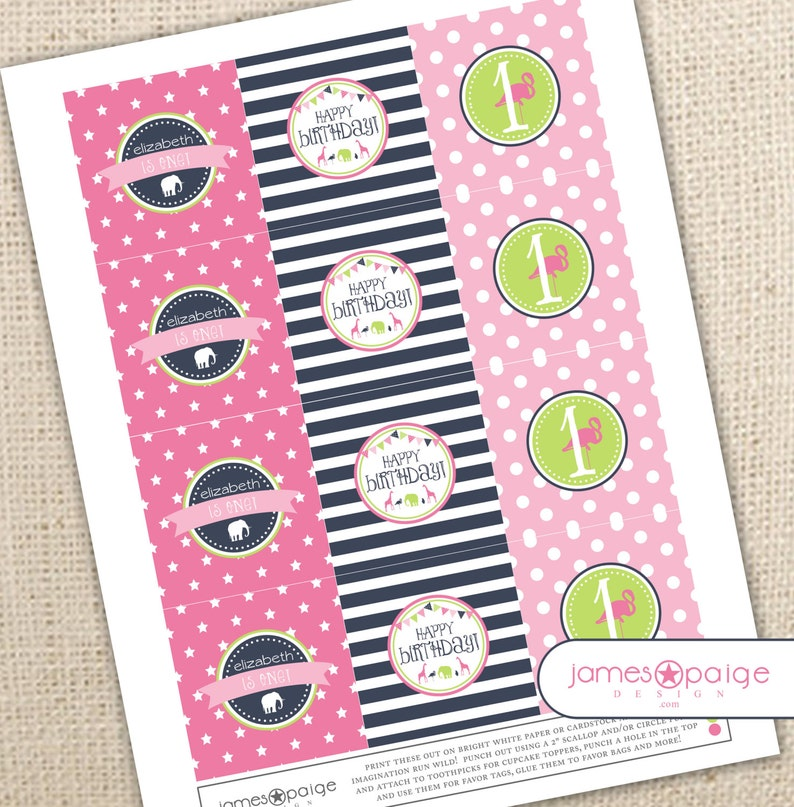 Three Designs Zoo Animal Birthday Cupcake ToppersParty Squares Print at Home