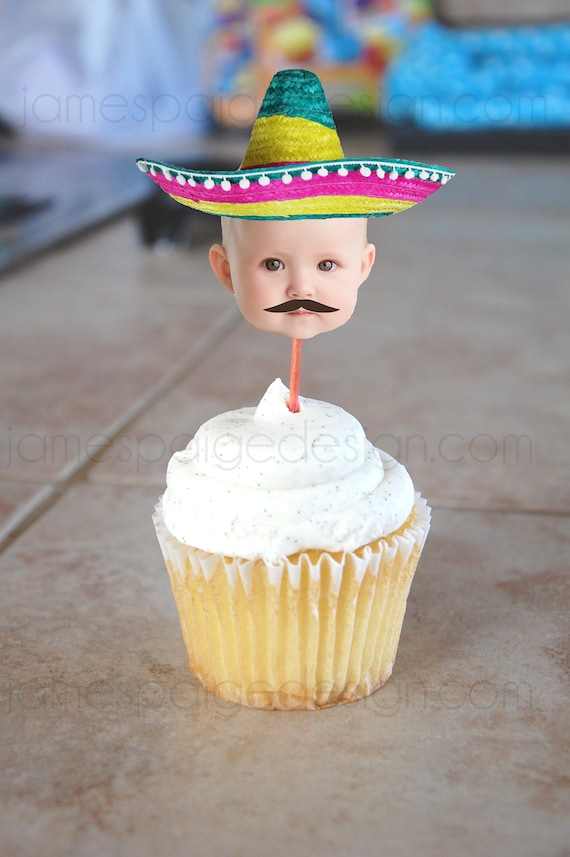 39094b5a0 Colorful Sombrero Hat Fiesta Photo Cupcake Toppers - Printable File. Great  for Cinco de Mayo parties!