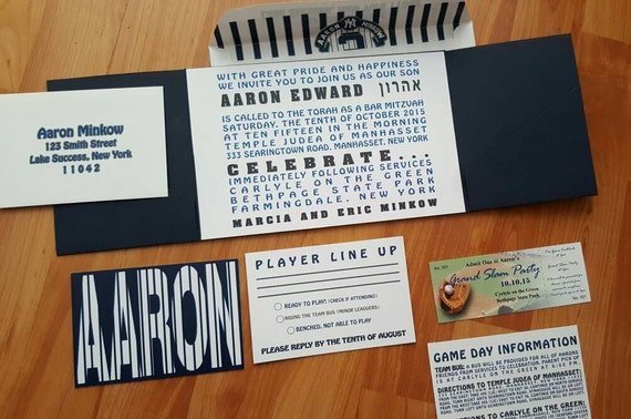 baseball theme invitation bar mitzvah 2 pocket pocketfold etsy