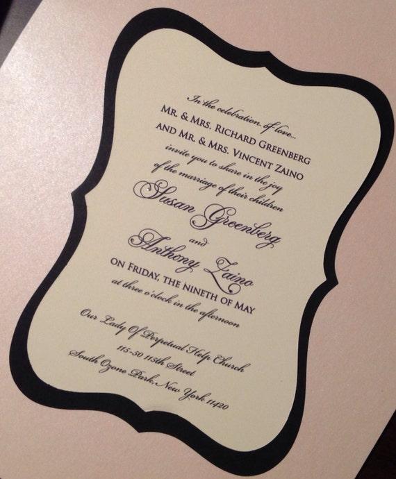 Czarnym I Kości Słoniowej Wycinane Laserowo Zaproszenia ślubne Etsy