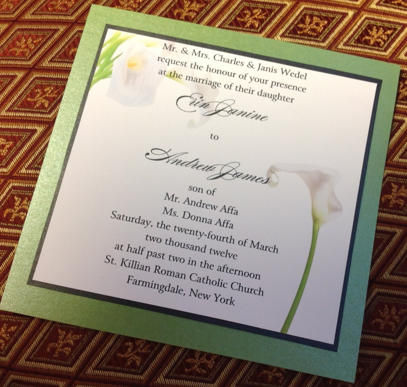 Calla Lily Square Wedding Invitation Sweet 16 Invitation Party Floral Pretty Green White Bat Mitzvah Anniversary Cheap Invitation