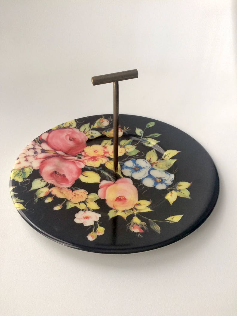 1950s Floral Melamine Serving Tray With Handle Etsy